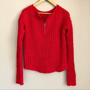 A&F | Zipper Front Cropped Knit Sweater